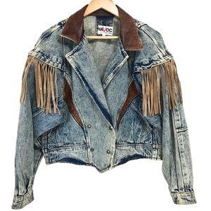 Vintage Havoc Tassel Leather Collar Denim Jacket